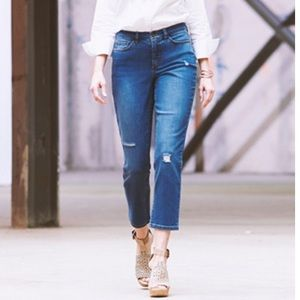 Denim & Company Distressed Cropped Jeans